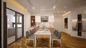 Không gian bếp ăn được bố trí trong cùng một không gian