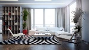 Phòng khách sử dụng bộ sofa tone mầu sáng kết hợp với ghế bành