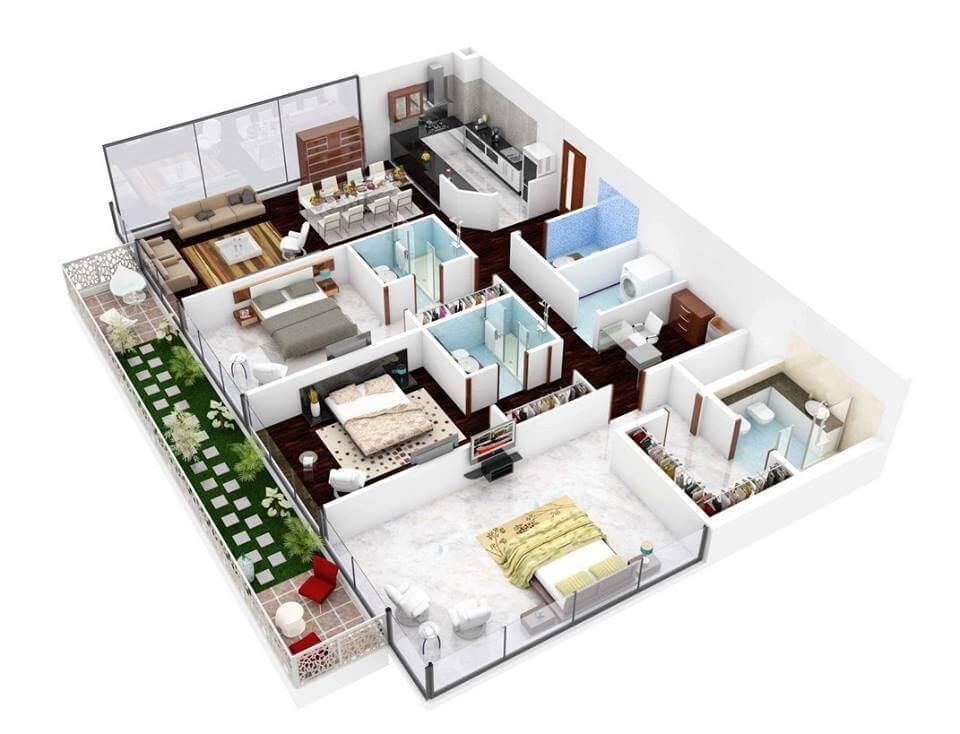 Mẫu 9 - Bản vẽ 3D cải tạo 9 mẫu chung cư đẹp nhất 2015