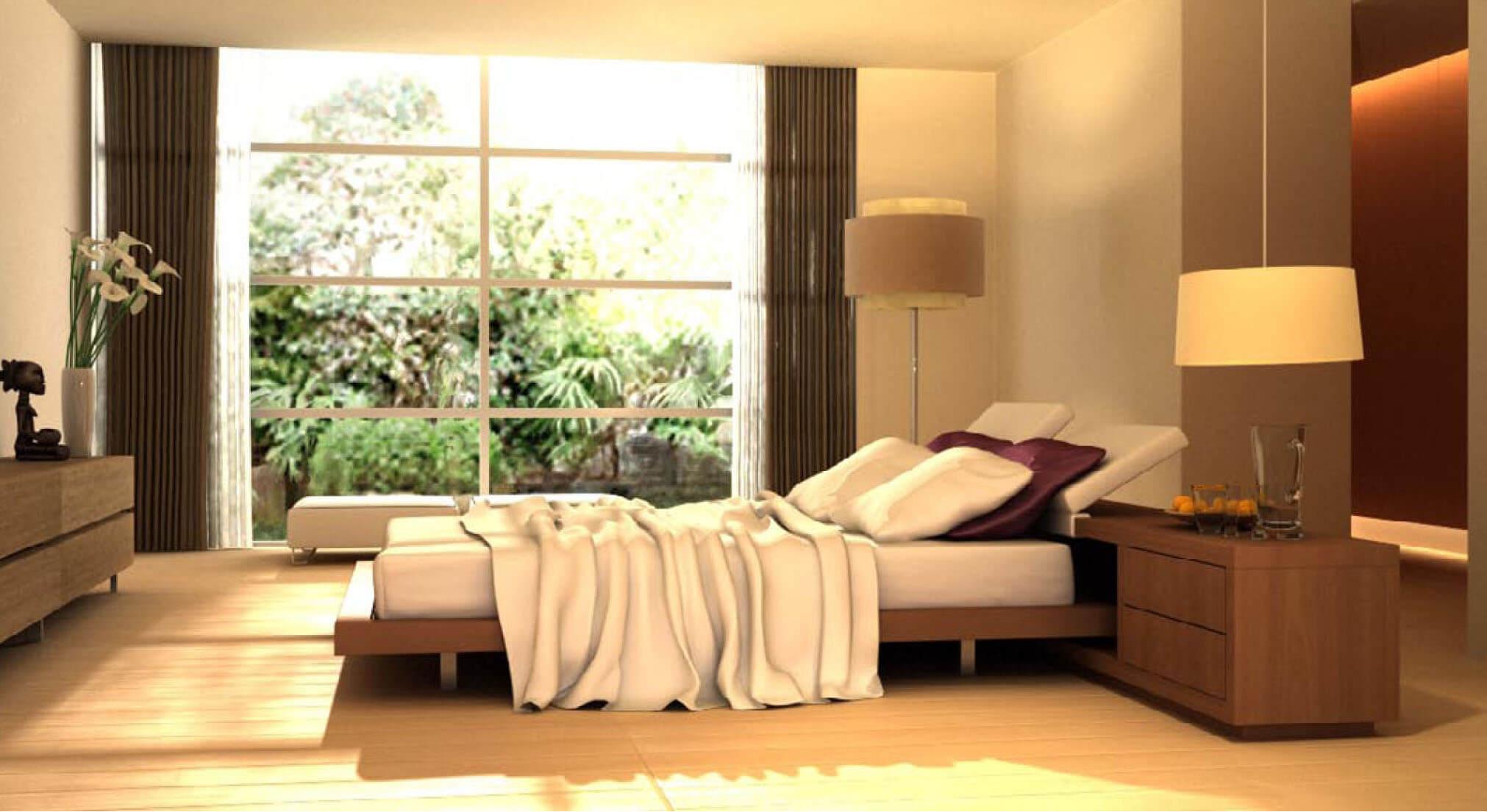 Sửa căn hộ, với phòng ngủ được kết hợp với những chậu cây cảnh tạo cảm giác gần gũi với thiên nhiên tạo cảm giác tươi trẻ.