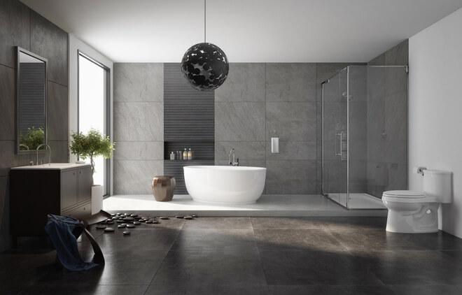 Phòng vệ sinh kết hợp với phòng tắm thiết kế trang nhã, hiện đại, sau sửa căn hộ.