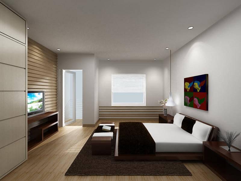 Phòng ngủ này sử dụng gam màu trung tính, trẻ trung hiện đại sau khi sửa nhà.