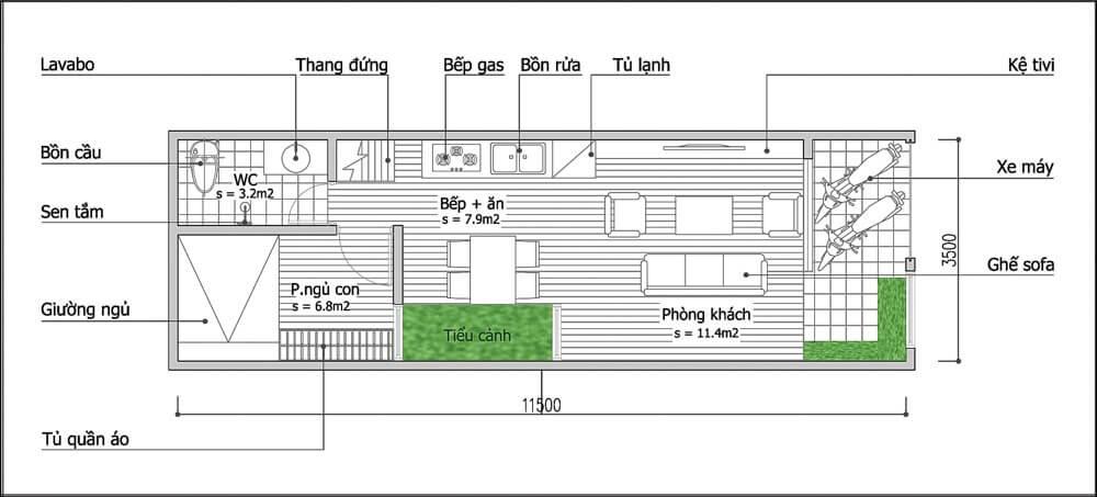 bản vẽ của ngôi nhà ống 40m2 cực đẹp