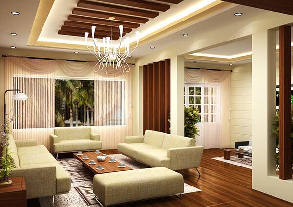Sửa chữa Phòng khách biệt thự bằng cách kết hợp hoàn hảo giữa sắc vàng và các chi tiết bằng gỗ