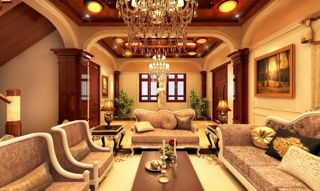 Sửa chữa Phòng khách biệt thự, màu sắc sang trọng với gam màu nâu - vàng hài hòa, quý phái.