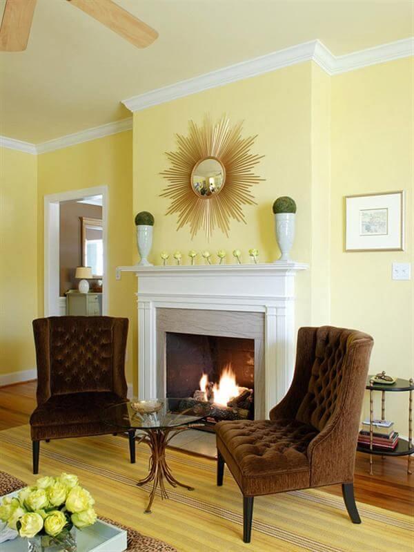 Sơn nhà chuẩn phong thủy cho người mệnh thổ căn phòng với gam màu nâu vàng