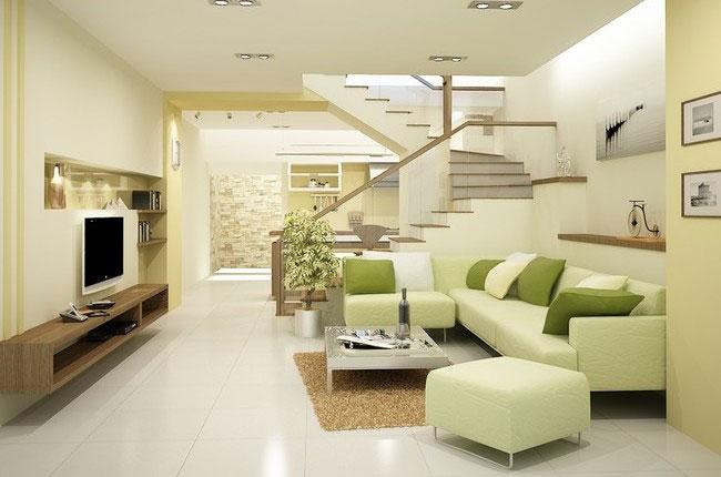 Thay đổi màu sắc không gian sống với gam màu vàng dịu cho phòng khách