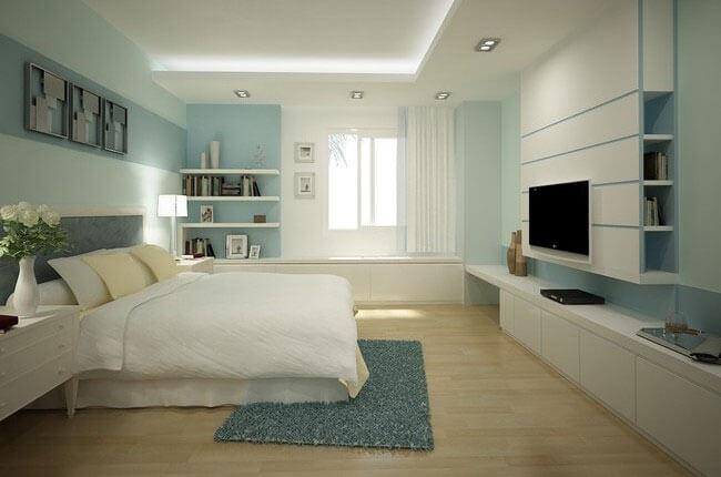Thay đổi màu sắc không gian gam màu xanh mát cho phòng ngủ