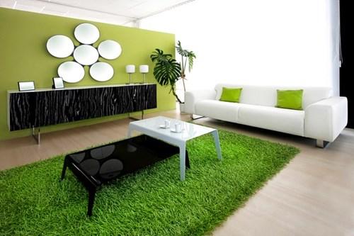 Dịch vụ sơn phòng khách đẹp với họa tiết màu xanh nhạt