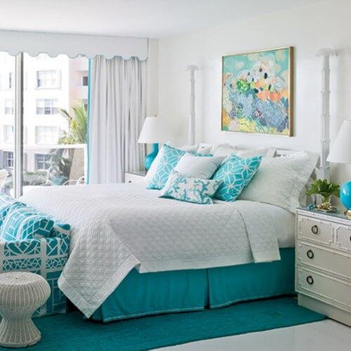 Phòng ngủ màu ngọc lam