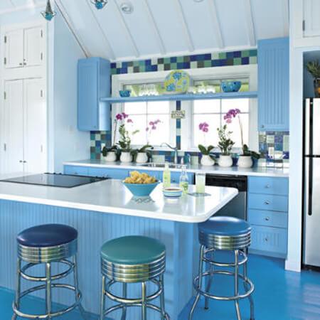 Sắc xanh mang hương vị biển xanh vào căn bếp nhà bạn