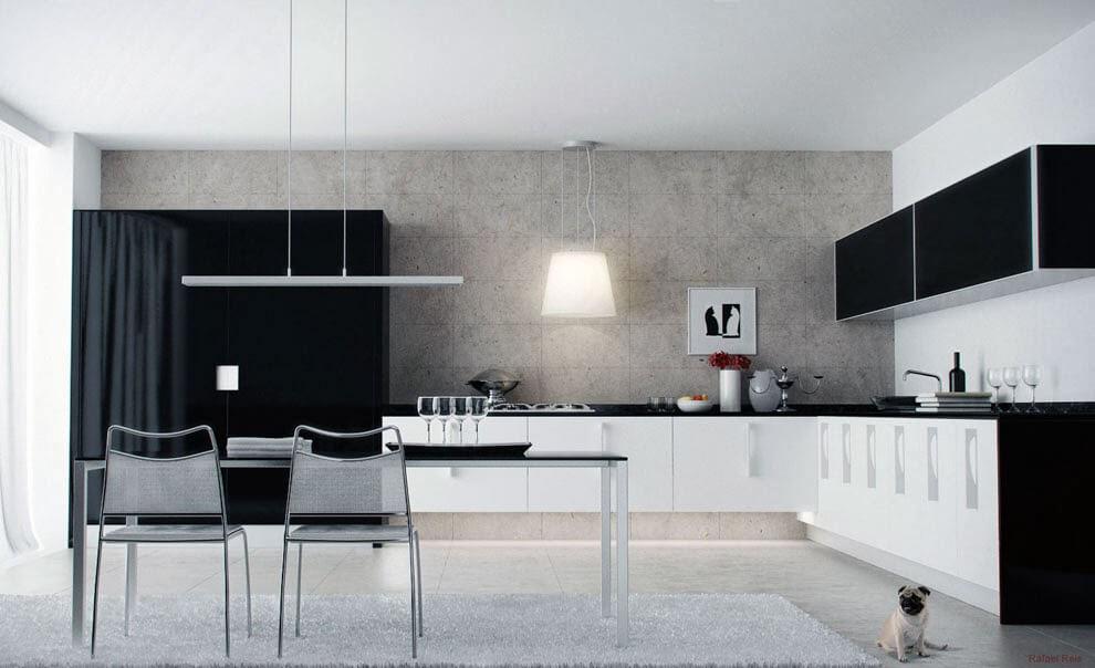 Sự phối hợp ăn ý giữa mầu trắng đen tạo phòng bếp ấn tượng