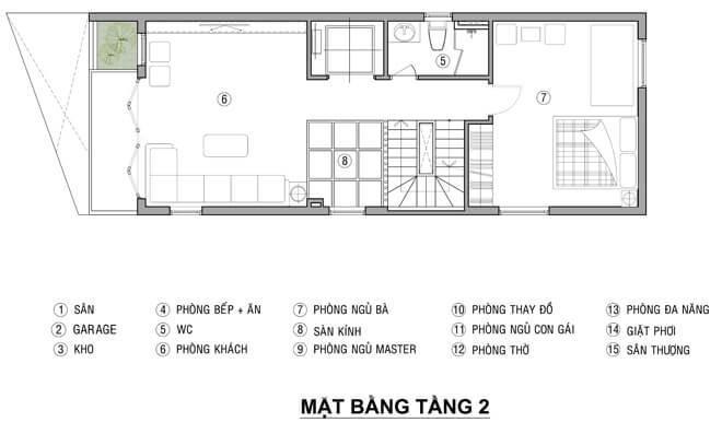 Sửa nhà 4 tầng, <em>tầng 2 dành cho các không gian gồmphòng khách, phòng ngủ của bà ngoại</em>