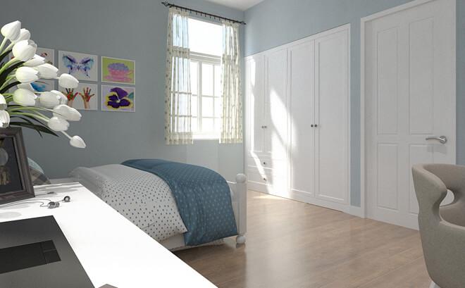 Sửa nhà 4 tầng, phòng ngủ của hai cô gái vẫn trang trí bằng gam xanh chủ đạo nhưng trẻ trung hơn