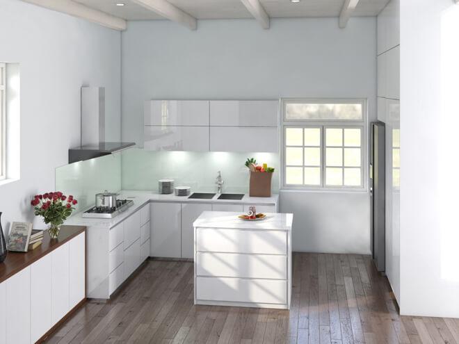Sửa nhà 4 tầng, ngoài gara, khu vực tầng một còn được bố trí thêm một phòng bếp cùng với bàn ăn.