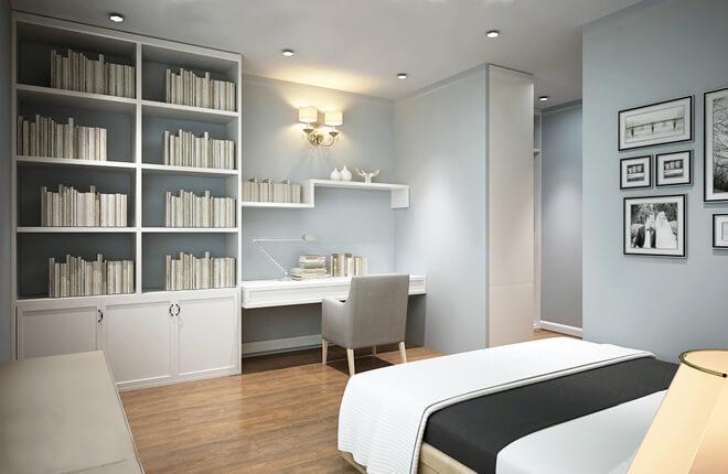 Sửa nhà 4 tầng, màu xanh nhạt được chọn là gam màu chủ đạo của phòng ngủ chính,kết hợp với bàn làm việc đơn giản
