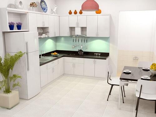 Xây sửa nhà ống với không gian bếp và phòng ăn chung tạo cho căn nhà rộng hơn.