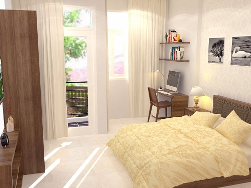 Xây sửa nhà ống với phòng ngủ Bố Mẹ với bàn làm việc, cửa sổ và cửa ra ban công cũng là nơi lấy sáng cho không gian thoáng đãng