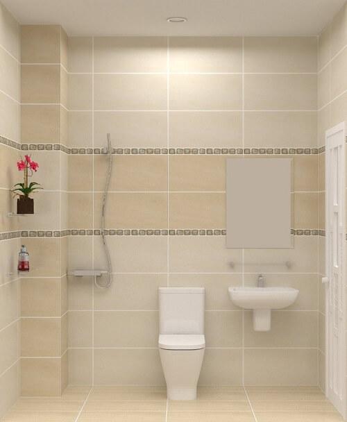 Phòng tắm tầng 1 tông màu trắng sáng tạo cảm giác sạch sẽ thoáng đãng, sau xây sửa lại ngôi nhà