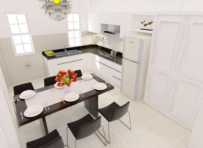 Bếp và không gian ăn vừa đủ cho gia đình 4 người sinh hoạtSửa nhà ống 33m2