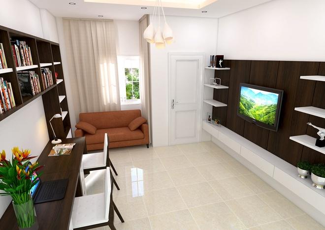 Phòng ngủ bố mẹ đơn giản, gam màu nhã nhặn sau khi sửa nhà ống 33m2
