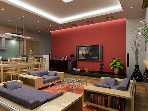 Những mẫu sơn phòng khách đẹp với màu đỏ tạo ra cảm giác mãnh liệt