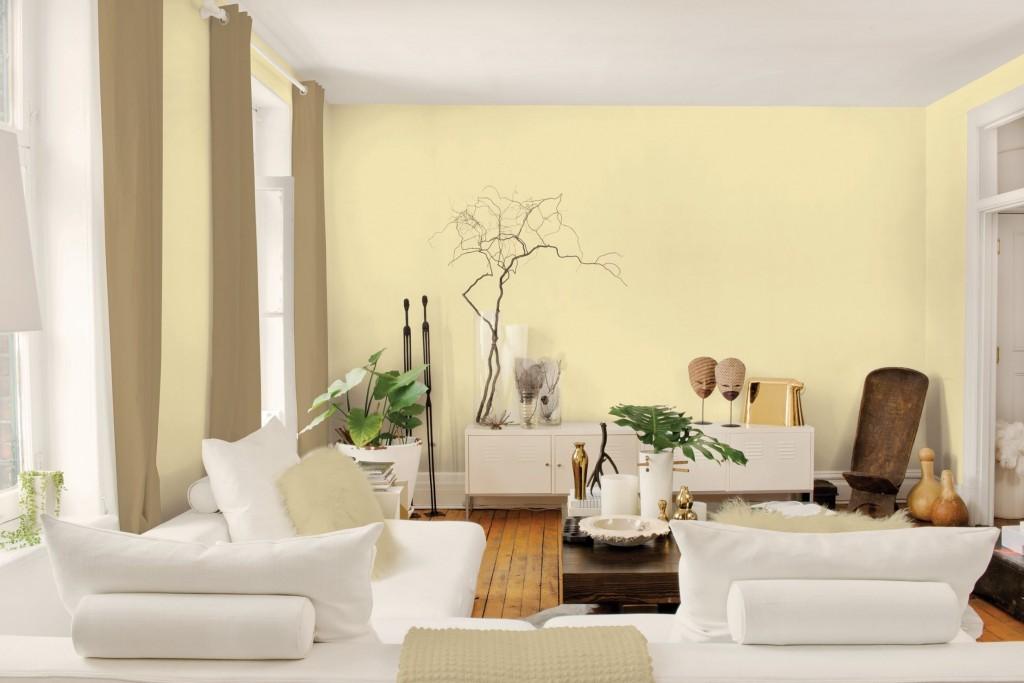 Màu vàng mang lại niềm vui và màu sắc đẹp trong những mẫu sơn phòng khách đẹp