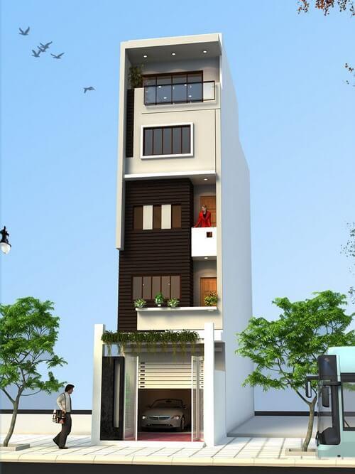 Sơn mặt tiền nhà phố 5 tầng,màu sắc đối lập sẽ tạo ra nhiều sự chú ý hơn đến đường nét kiến trúc của ngôi nhà.