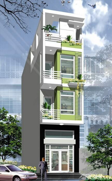 Sơn mặt tiền nhà phố màu trắng và xanh cốm kết hợp hài hòa với nhau mang đến cảm giác mát mẻ, dễ chịu cho ngôi nhà.