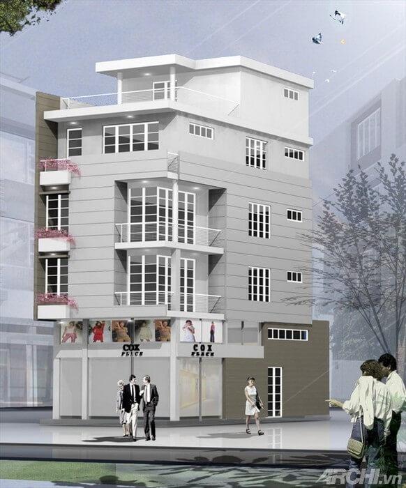 Ngôi nhà phố trở nên ấn tượng với sơn mặt tiền nhà phố, màu trắng chủ đạo, cùng những chi tiết lan can và cửa đan xen.