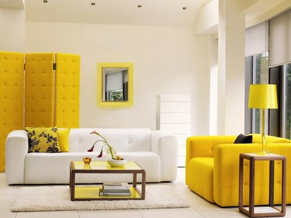 Phòng khách sơn màu vàng, màu của sự hiếu khách