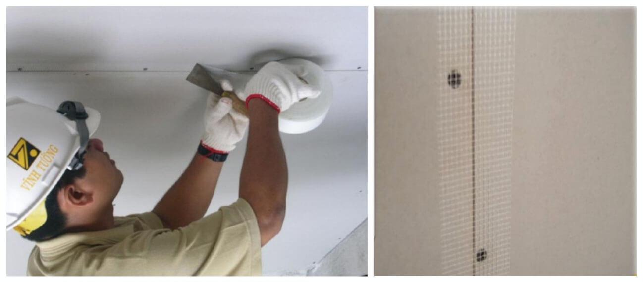 Quy trình thi công trần thạch cao với việc phủ kín các mối nối giữa các tấm, các đầu vít thường dùng là bột bả.