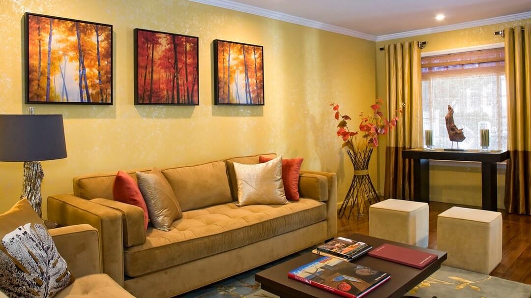 Một trong những màu sơn phòng khách đẹp với sắc vàng ấm áp