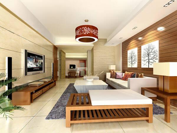 Màu sắc sơn nhà với tông màu trắng-vàng-nâu, đầy cá tính cho căn phòng khách này.