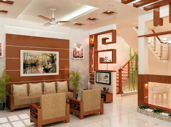 Phòng khách với gam màu trung tính, kết màu sơn nhà nâu tạo điểm nhấn nổi bật đầy ấn tượng.