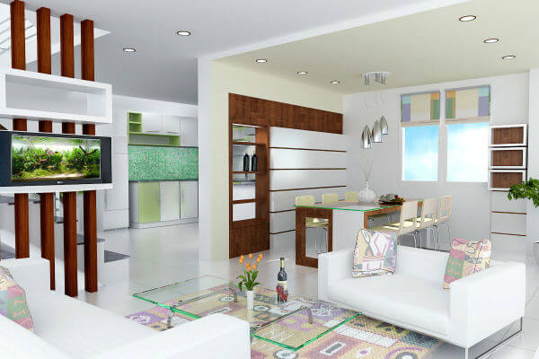 Màu sơn nhà với phòng khách tông trắng chủ đạo, tạo không gian sáng thoáng