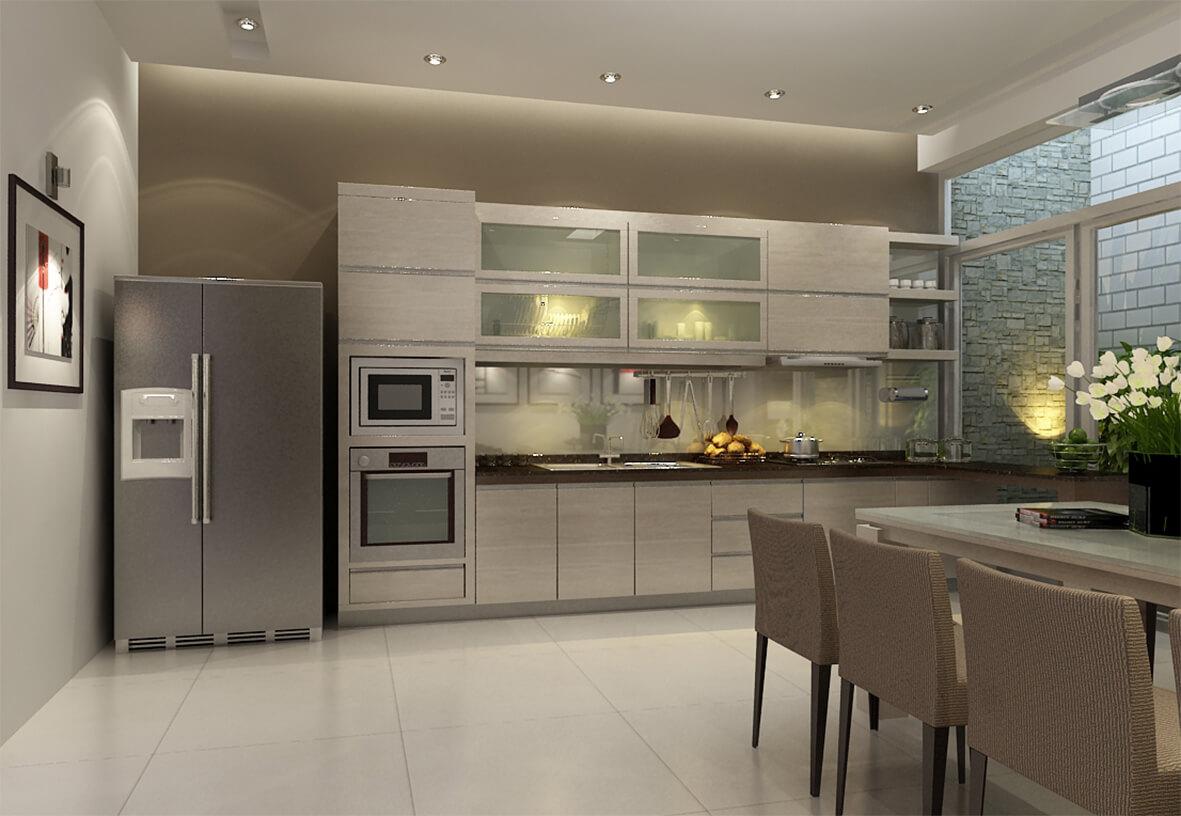 Không gian bếp và ăn thoáng đãng, hiện đại, tông màu trung tính, sang trong sau khi sửa chữa cải tạo căn hộ.