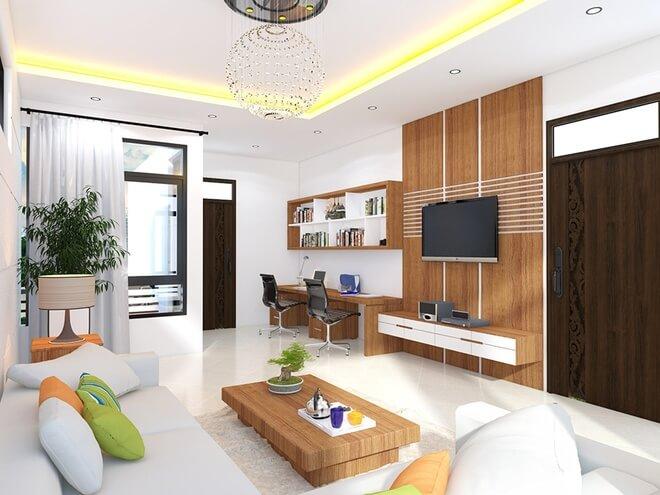 Tầng 2 còn có không gian sinh hoạt chung của cả gia đình như một phòng khách thứ hai với đầy đủ tivi, sofa, trong thiết kế nhà ống 2 tầng.