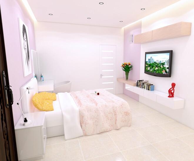 Phòng con gái nữ tính và dịu dàng với tông hồng. Kệ để đồ trong phòng thiết kế tương tự như phòng bố mẹ, trong mẫu thiết kế nhà 2 tầng.