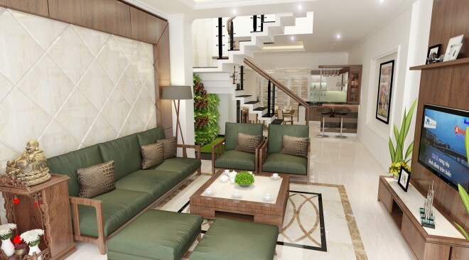 Phòng khách sáng rộng với gam màu trắng chủ đạo, giúp nổi bật những chi tiết trang trí cho căn phòng.