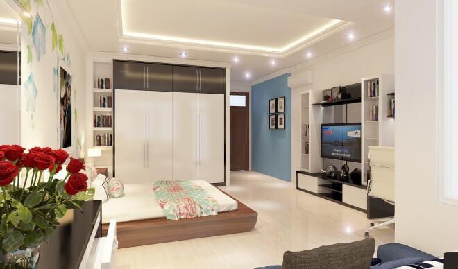 Mẫu thiết kế nhà ống 4 tầng, phòng ngủ chính được trang trí chủ yếu bằng gam màu trắng, đầy ấn tượng
