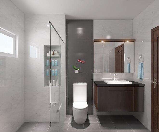 Phòng tắm đơn giản, hiện đại với gạch đá màu ghi hoa văn giản dị, đẹp ấn tượng trong mẫu thiết kế nhà ống 4 tầng.