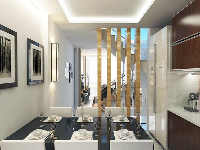 Cách phân bố giếng trời hợp lý cho cả khu vực giữa và sau nhà giúp chan hòa ánh sáng khắp mọi không gian, trong mẫu thiết kế nhà này.