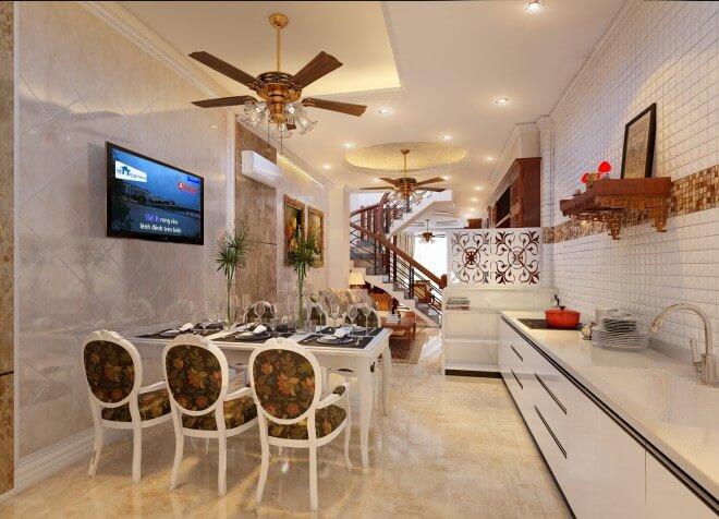 Bếp và phòng ăn thoáng đãng, sang trọng bởi được trang trí đơn giản nhưng đầy đủ tiện ích tạo nên cảm giác thoải mái cho chủ nhà trong mẫu thiết kế nhà ống 4 tầng này.