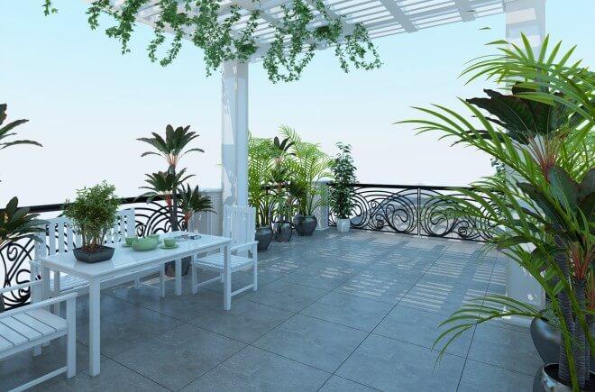 Không gian sân thượng nhà ống thiết kế thoáng mát kết hợp cây xanh tạo phong cảnh và là nơi thư giãn cho các thành viên trong gia đình