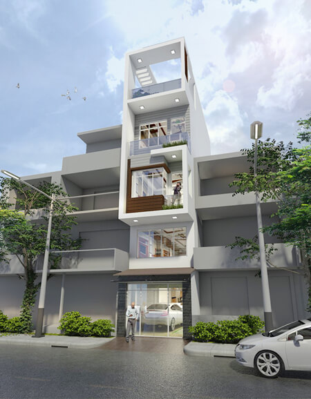 Mặt tiền ngôi nhà khá phổ biến với các nhà ống ở Việt Nam. Ngôi nhà có mặt tiền với các khối đơn giản, ban công phía ngoài đón nắng gió, chủ yếu sử dụng cửa kính lớn