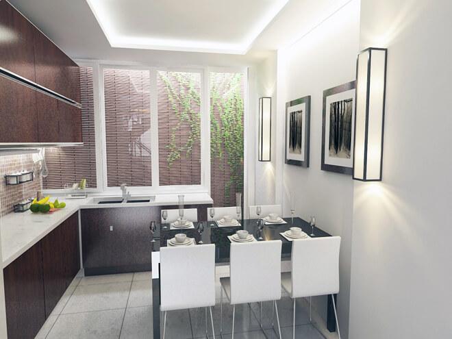 Ngôi nhà thiết kế, bếp nấu và bàn ăn cũng lấy được ánh sáng từ giếng trời sau nhà giúp khu vực này luôn khô thoáng và sạch sẽ