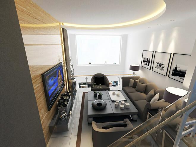 Thiết kế nhà, mặc dù, phòng khách được bố trí trên gác lửng, song nhờ trần cao và có khung cửa lấy ánh sáng rộng nên vẫn đảm bảo sự thoáng đãng và rộng rãi