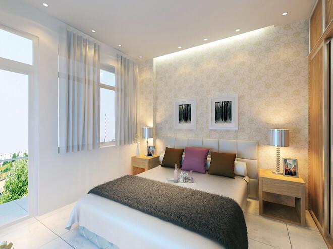 Phòng ngủ của bố mẹ trong bản thiết kế nhà này sáng sủa với cửa sổ và ban công mở ra mặt tiền