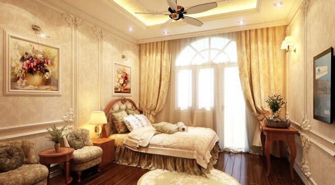 Thiết kế nhà ống với phòng ngủ lớn cổ điển với nền nhã nhặn mang đến cảm giác thư giãn cho chủ nhà khi nghỉ ngơi